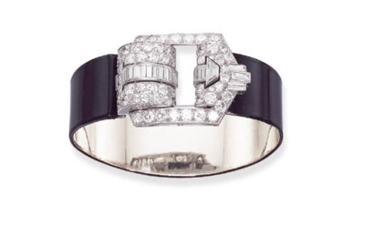 AN ART DECO DIAMOND AND BLACK