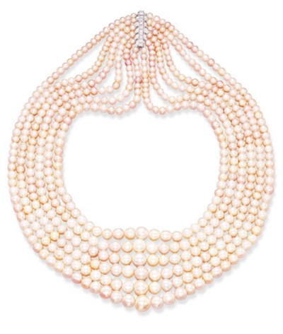 A SIX-STRAND PEARL NECKLACE