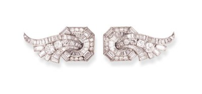 A PAIR OF DIAMOND BROOCHES, BY