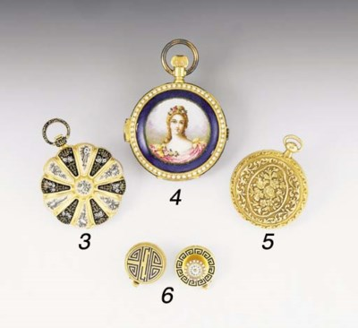 A GOLD AND ENAMEL OPEN FACED P
