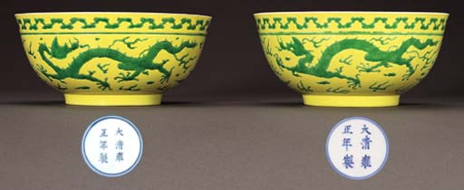 A FINE PAIR OF GREEN-ENAMELLED
