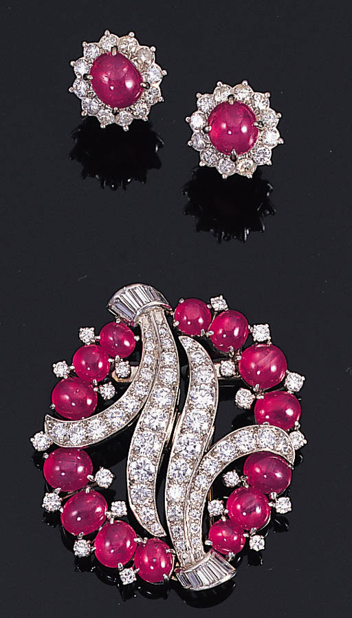 A SET OF STAR RUBY AND DIAMOND