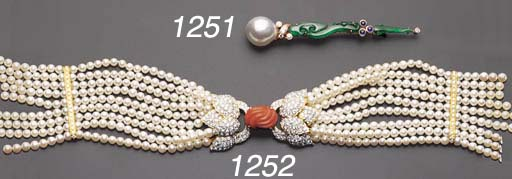 * A CORAL, CULTURED PEARL AND