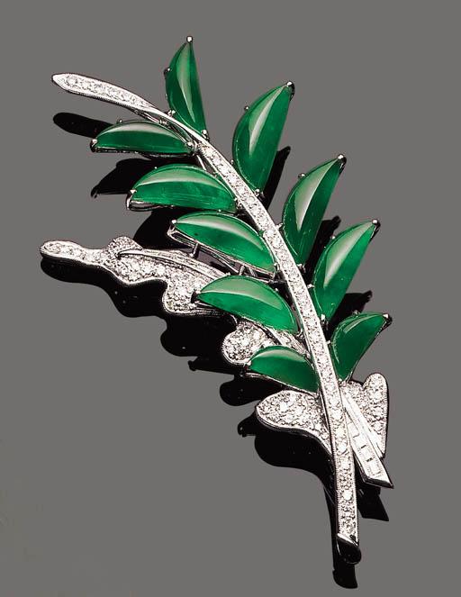 A JADEITE AND DIAMOND FOLIATE