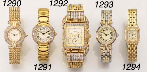 A LADY'S 18K GOLD AND LATER DI