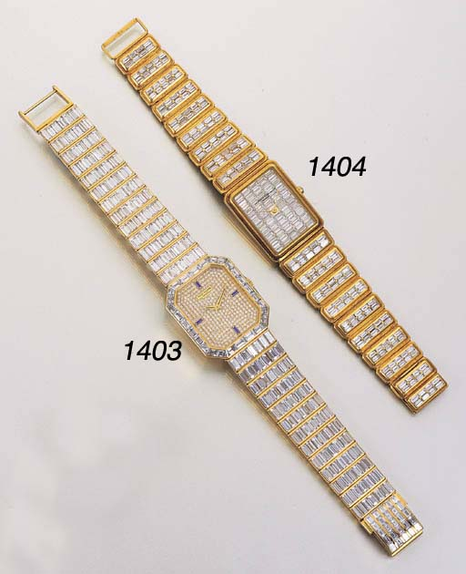 A FINE 18K GOLD, DIAMOND AND S