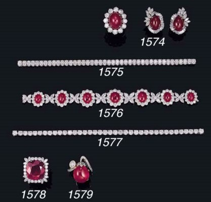 A GROUP OF RUBY AND DIAMOND JE