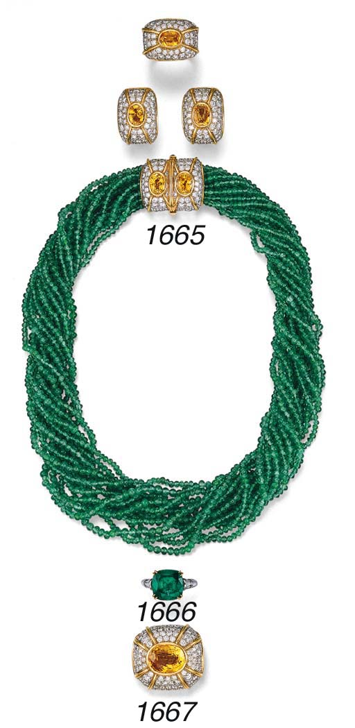 A SUITE OF EMERALD BEAD, YELLO
