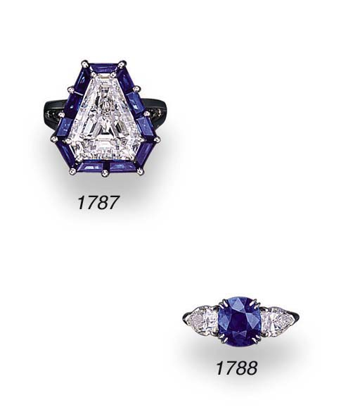 A FINE DIAMOND AND SAPPHIRE RI
