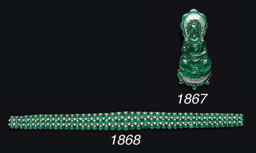 A JADEITE AND DIAMOND BRACELET