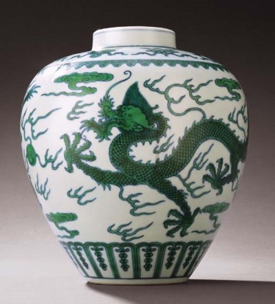 A FINE GREEN-ENAMELLED DRAGON