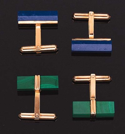 TWO PAIRS OF GEM-SET CUFF LINK