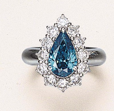 A TREATED BLUE DIAMOND RING