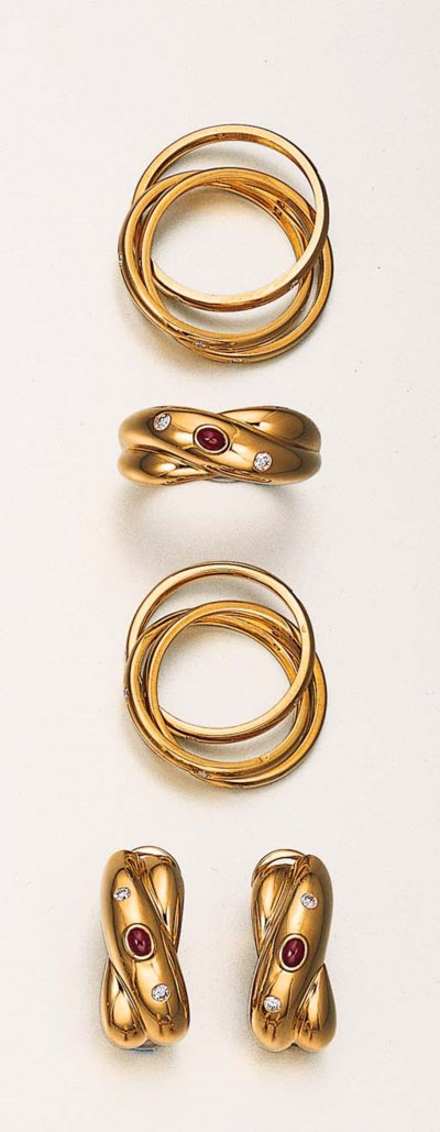 A GROUP OF 18K GOLD, DIAMOND A