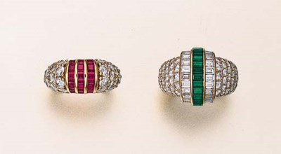 TWO GEM-SET AND DIAMOND RINGS,