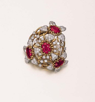 A RUBY AND DIAMOND FLORAL CLIP