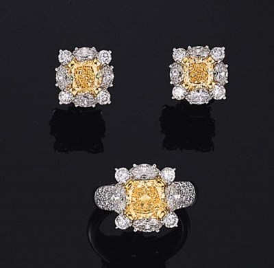 A SET OF YELLOW DIAMOND AND DI