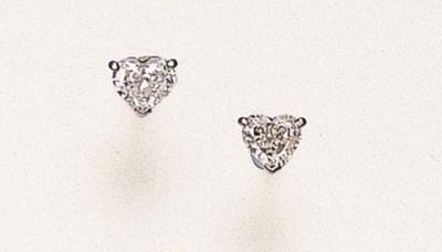 A PAIR OF HEART-SHAPED DIAMOND