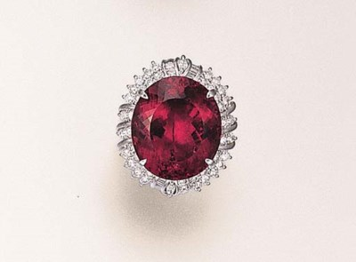 A RUBELLITE AND DIAMOND RING