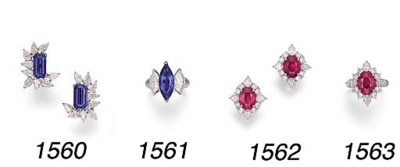 A PAIR OF RUBY AND DIAMOND CLU