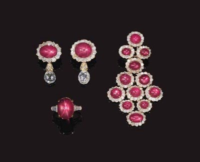 A SUITE OF STAR RUBY AND DIAMO