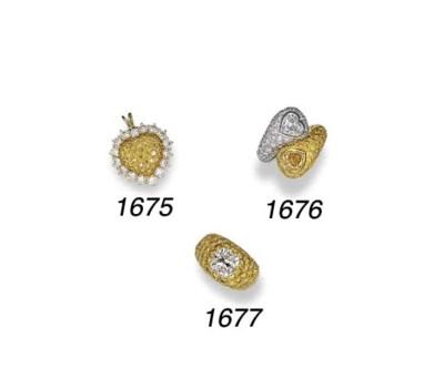 A YELLOW DIAMOND AND DIAMOND P