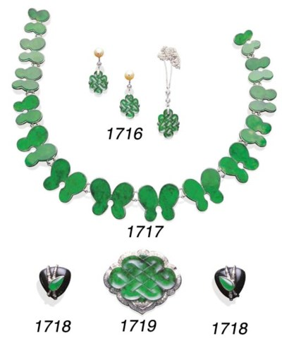 A SET OF JADEITE, PEARL AND DI