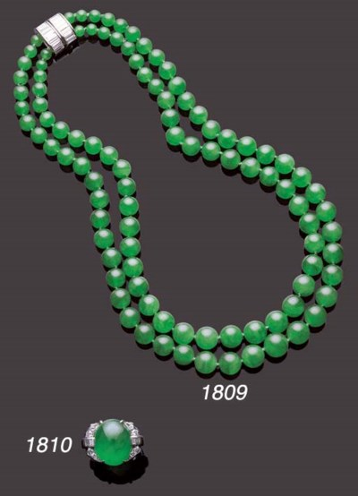 A 'GLASS' JADEITE AND DIAMOND