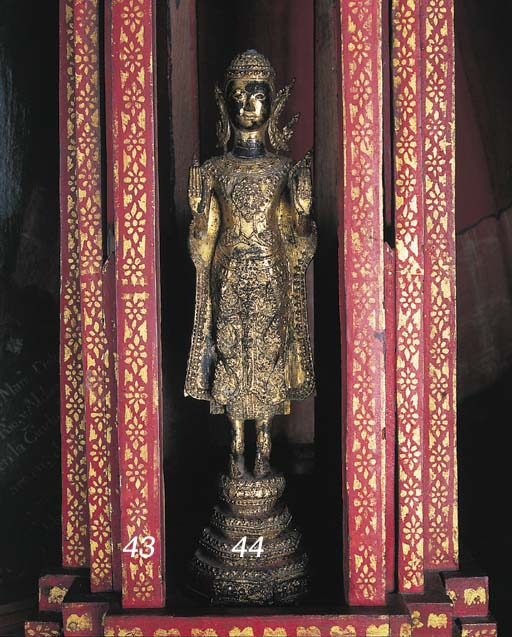 A THAI RED-PAINTED WOOD SHRINE