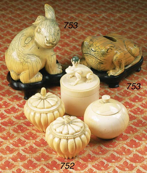 A GROUP OF FOUR CARVED IVORY C