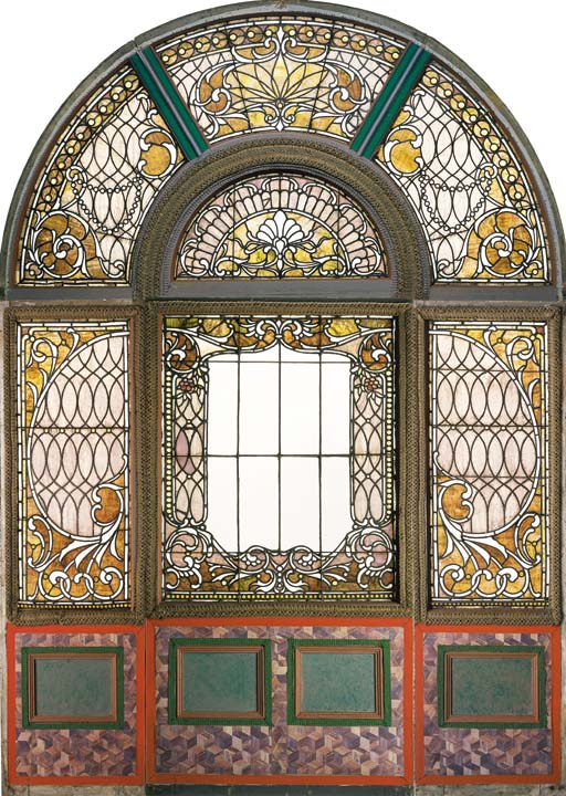 A VICTORIAN LEADED AND STAINED