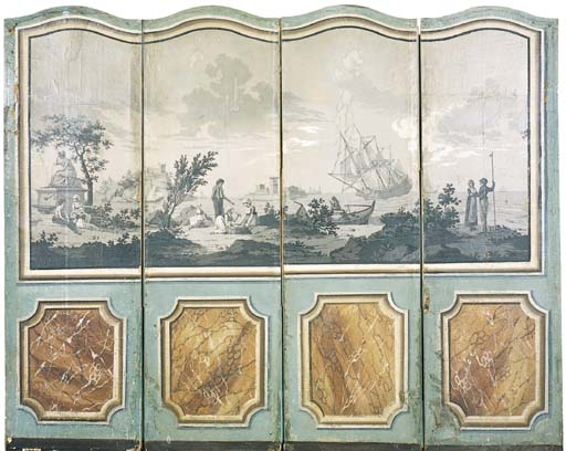 A CONTINENTAL PAINTED WALLPAPE