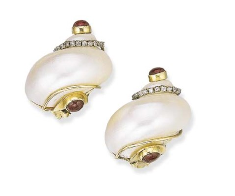 A PAIR OF SHELL AND DIAMOND EA