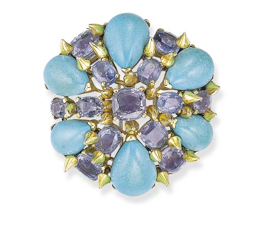 A SAPPHIRE AND TURQUOISE BROOC