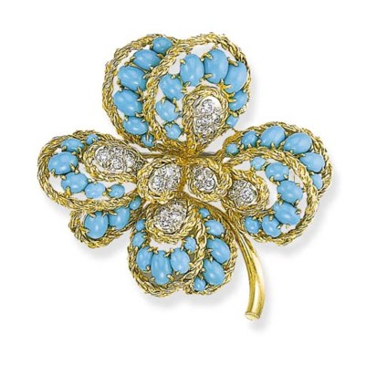 A DIAMOND AND TURQUOISE FLOWER
