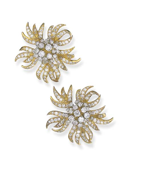A PAIR OF FLORAL EAR CLIPS, BY