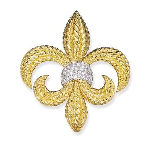 A GOLD AND DIAMOND FLEUR-DE-LY