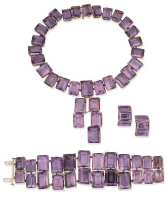 A SUITE OF AMETHYST JEWELRY, B