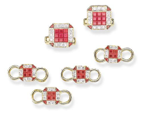A RUBY AND DIAMOND DRESS SET