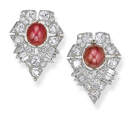 A PAIR OF ART DECO STAR RUBY A