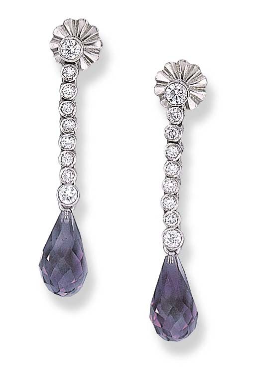 A PAIR OF DIAMOND AND AMETHYST
