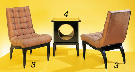A PAIR OF UPHOLSTERED AND EBON