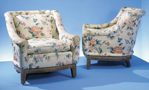 A PAIR OF UPHOLSTERED LIMED WO