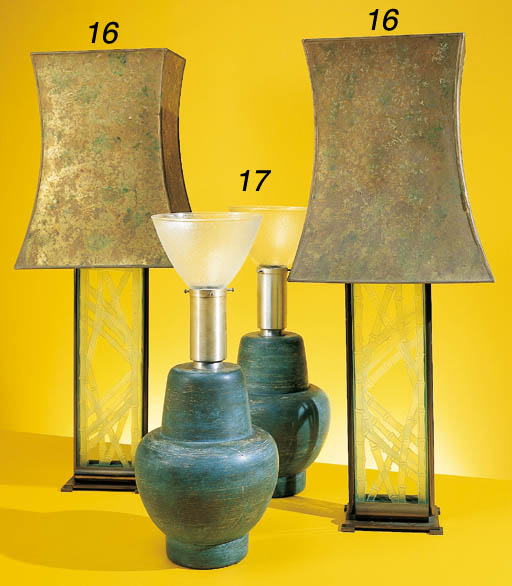 A PAIR OF ETCHED GLASS AND BRA