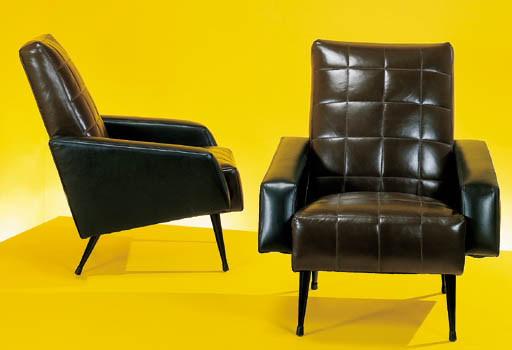 A PAIR OF ITALIAN LEATHER-UPHO