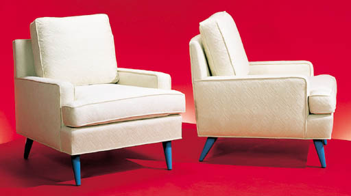 A PAIR OF UPHOLSTERED AND BLUE