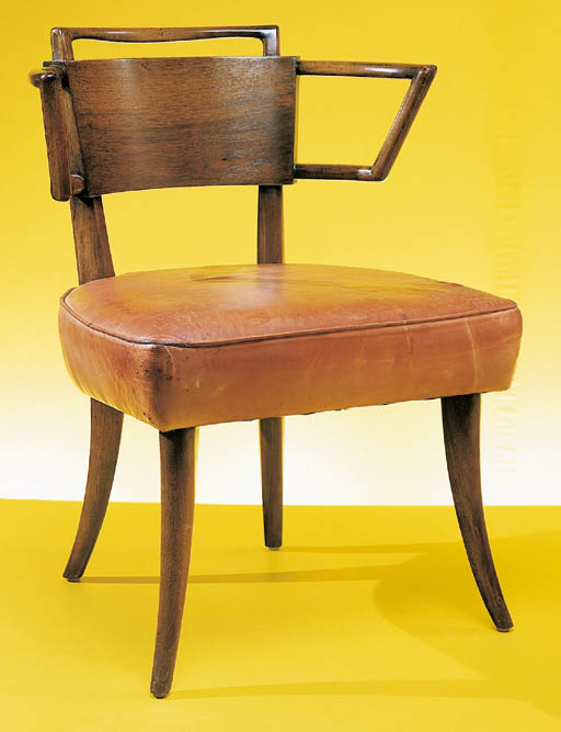 A LEATHER-UPHOLSTERED WALNUT C