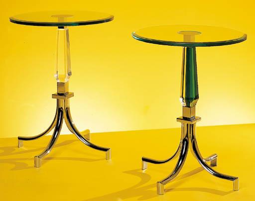 AN ACRYLIC, GLASS AND CHROMED-