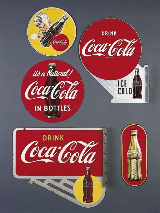 FIVE COCA-COLA SIGNS