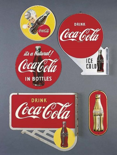 FIVE COCA-COLA SIGNS